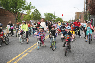 Long Island City Bike Parade in Socrates Scuplture Park, Queens, NY