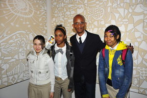 Artist Victor Matthews with students from his alma mater, P.S. 138 and The High School of Art and Design