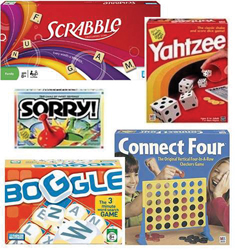 board games; mattel; scrabble, yahtzee, sorry!, connect four, boggle; family board games