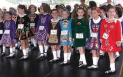 Irish Feis; Irish Festival; kids; children; little, young girls in Irish costumes