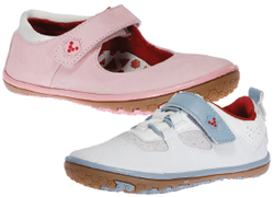 Terra Plana VivoBarefoot Kids shoes; pink, blue and white
