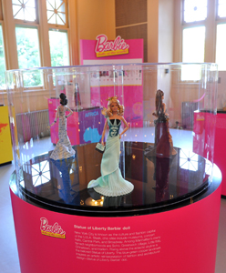 "Barbie Collector's ""Statue of Liberty Barbie Doll"" will be on display at the ""Dolls of the World"" exhibit."