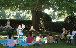 outdoor storytime in the garden; story hour outdoors on Long Island; Old Westbury Gardens