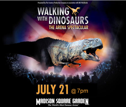 Win tickets to Walking with Dinosaurs: The Arena Spectacular at Madison Square Garden, NYC, July 21, 2010 at 7pm
