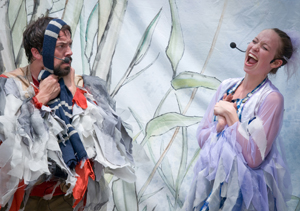 "to right: Jude Hickey (Crane) and Michelle Brandt (Heron) in a scene from ""Heron & Crane."" Photo by Callie Richmond."