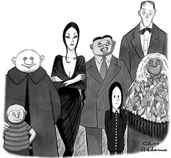 The Addams Family; black and white drawing