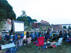 Harborfront Park in Port Jefferson, NY; outdoor movies in park