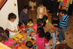 Families participate in art activities at the Nassau County Museum of Art in Roslyn Harbor.