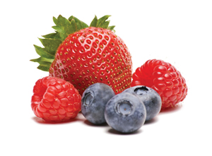 strawberry, blueberries, raspberries
