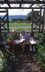 children in the garden at wave hill