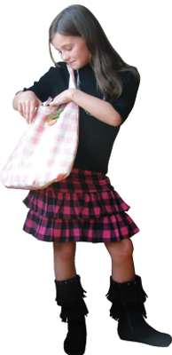 child model; girls, children's fall fashion; plaid skirt; Plum clothing; fringed boots by The Children's Place; gingham bag by Paul Frank