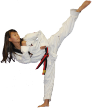 JY Moon Taekwondo; girl doing martial arts, high kick; zumba