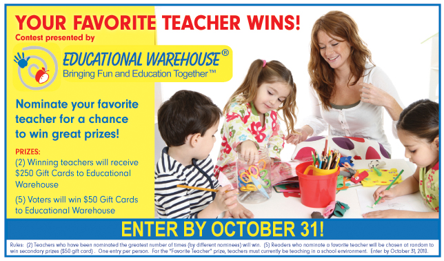Favorite Teacher Contest; Educational Warehouse