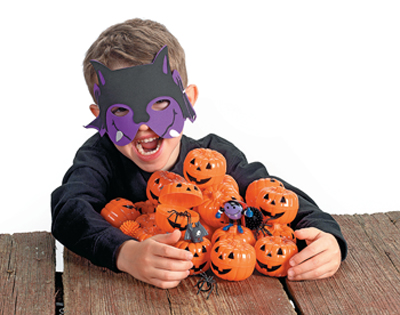 Boy wearing Halloween mask
