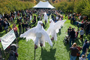 Ghouls and Gourds at Brooklyn Botanical Garden; giant bird puppets on stilts