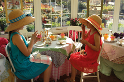 Main Street Nursery Tea Room; two young girls having a tea party