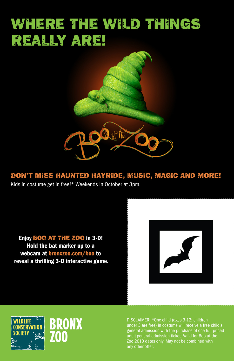 Bronx Zoo's Boo at the Zoo flyer; 3-D interactive game code