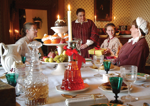 Thanksgiving table; historical setting
