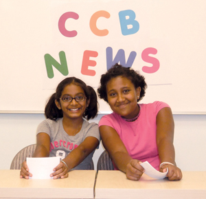 CCB School of Comack; young girls pretending to be news anchors; CCB News