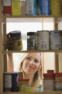 stocking shelves; canned foods; pantry