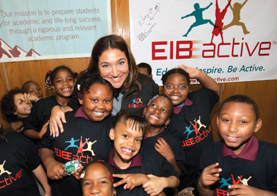Supernanny Jo Frost visits with students at La Cima Elementary Charter School in Bedford-Stuyvesant, Brooklyn.