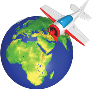 cartoon globe and toy plane