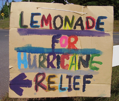 Lemonade for Hurricane Relief sign