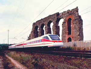 eurorail train through ruins of Italy