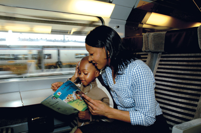 mother and son riding the eurostar train
