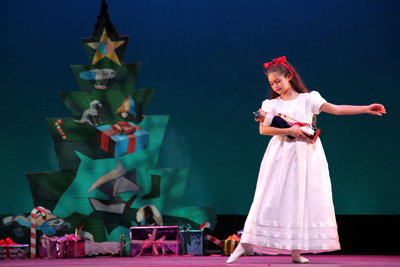 A young dancer as Clara in the Hampton Ballet Theatre School's production of The Nutcracker.