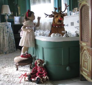 Rudolph taking a bath; Holiday Celebration at Old Westbury Gardens