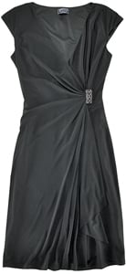 American Living cap sleeve black dress with wrap front