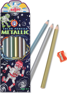 eeBoo Robots metallic color pencils