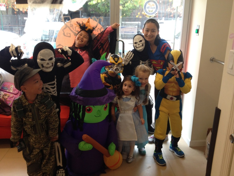 bunny hill students dressed up for halloween