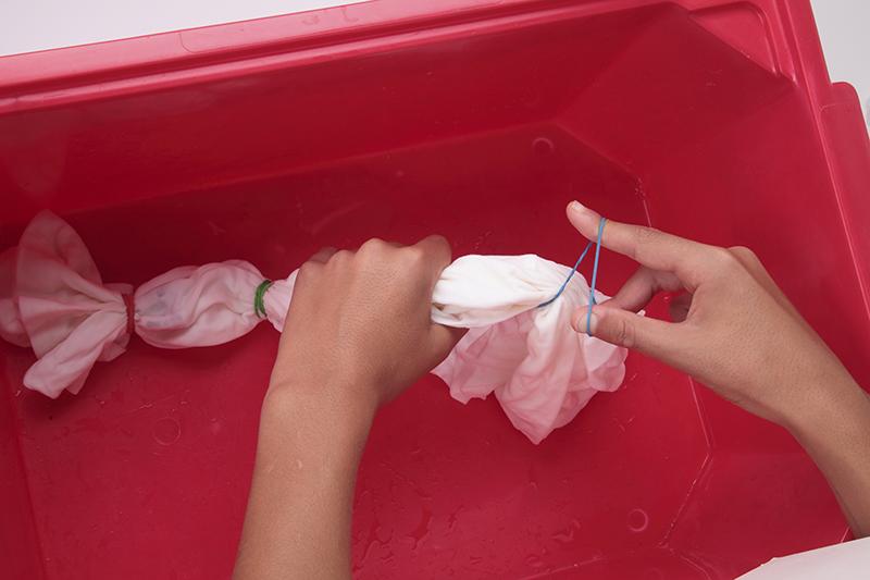 food coloring tie-dye step 2
