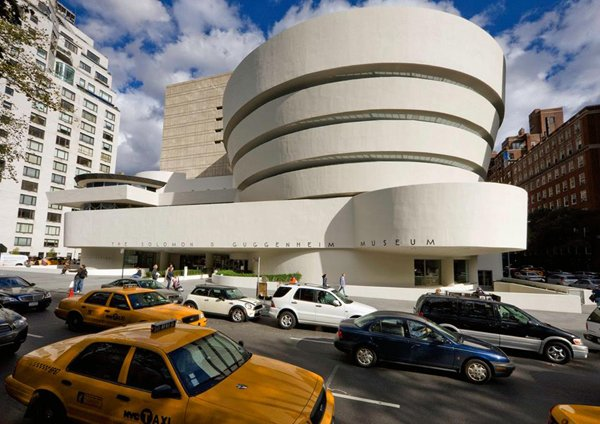 An exterior view of the Solomon R. Guggenheim Museum in New York City.