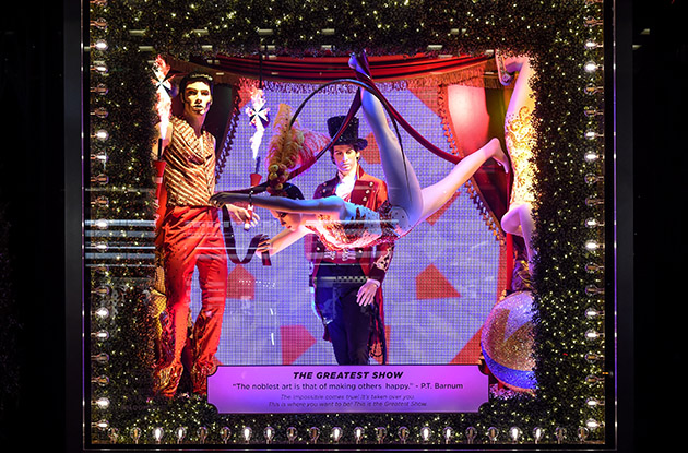 circus performers holiday window