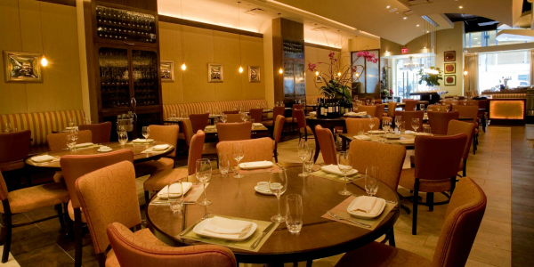The main dining room area of Pera Mediterranean Brasserie