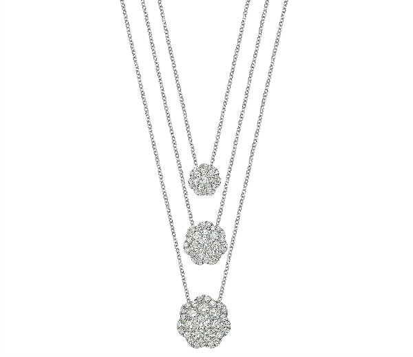 14k White Gold and Diamond Flower Cluster Pendant