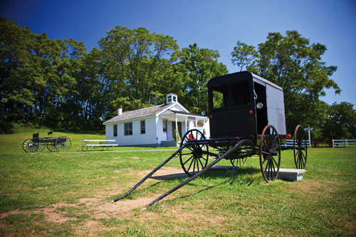 A horse and buggy at the Amish Village in Lancaster, PA