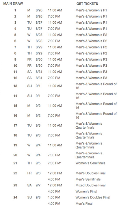 us open 2019 schedule