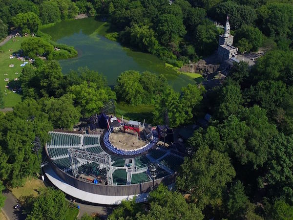 An Aerial view of Delacorte Park in Central Park.