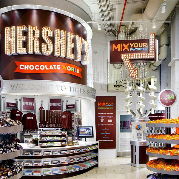 A candy display inside of Hershey's Chocolate World Times Square.