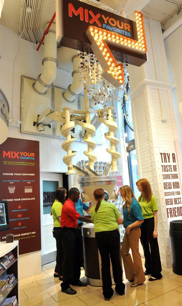 "A ""Mix Your Favorites"" candy station inside of Hershey's Chocolate World Times Square."