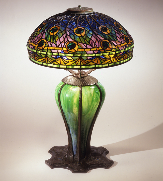 peacock lamp from The Neustadt Collection of Tiffany Glass Queens Museum