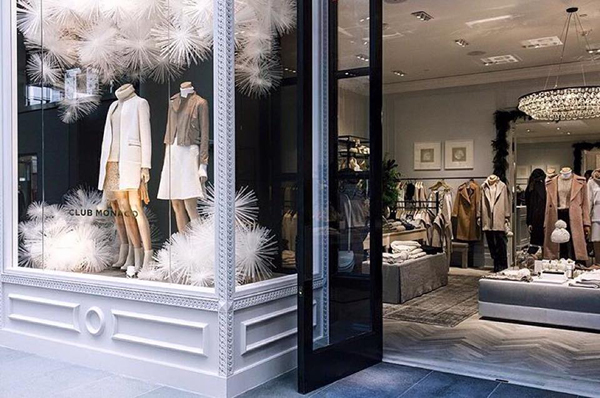 Club Monaco storefront in Brookfield Place.