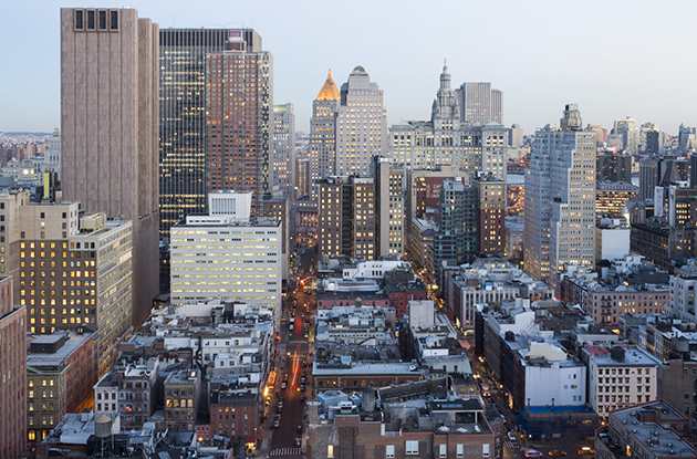 tribeca skyline from top of independence plaza