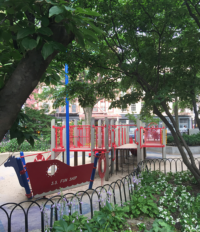ship shaped play area in Washington Market Park