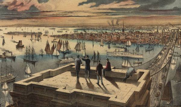 new york history currier ives view brooklyn bridge