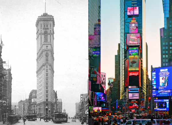 one times square then and now